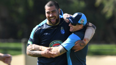 Popular: Andrew Fifita and Mark Donaldson, VC, at Blues training last year.