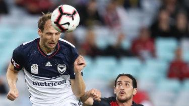 Ola Toivonen of the Victory heads the ball.