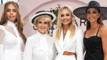 Sarsha Chisholm, Julie Bishop, Elyse Knowles and Rachael Finch at Myer's Glam Bar on Derby Day.