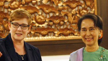 Foreign Affairs Minister Marise Payne meets with Myanmar leader Aung San Suu Kyi in Naypyitaw on December 13.