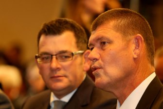 Daniel Andrews provides cover for James Packer's Crown Resorts.
