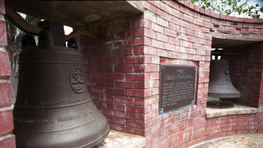 Two of the Bells of Balangiga at FE Warren Air Force Base outside Cheyenne, Wyoming.