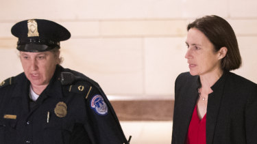 Former White House advisor on Russia, Fiona Hill, arrives on Capitol Hill in Washington, DC.