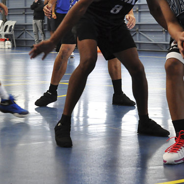 Banksia Hill detainees play a competitive game of basketball.