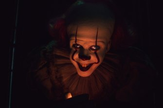 Bill Skarsgard as the evil clown Pennywise in It: Chapter Two.