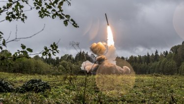 A Russian Iskander-K missile launched during a military exercise at a training ground at the Luzhsky Range near St Petersburg, Russia.