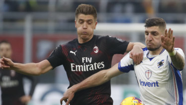 AC Milan's Krzysztof Piatek, left, is thought to be too costly to be signed in January.