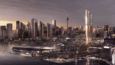 An artist's impression of a 237-metre hotel and residential tower proposed for The Star casino site in Pyrmont.