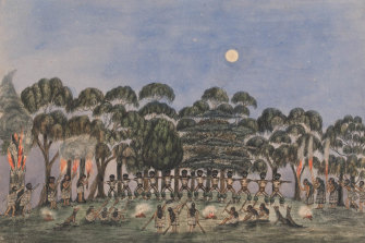 A corroboree on Emerald Hill in 1840, by English-born painter and businessman Wilbraham Liardet.