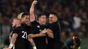 Triumph: New Zealand players celebrate their stunning fight back at Loftus Versfeld stadium .