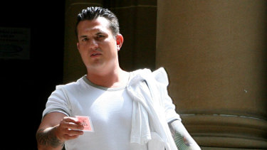 Hell's Angel Wayne Schneider at court over a nightclub shooting in 2006.