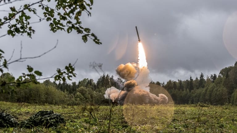 A Russian Iskander-K missile launched during a military exercise.
