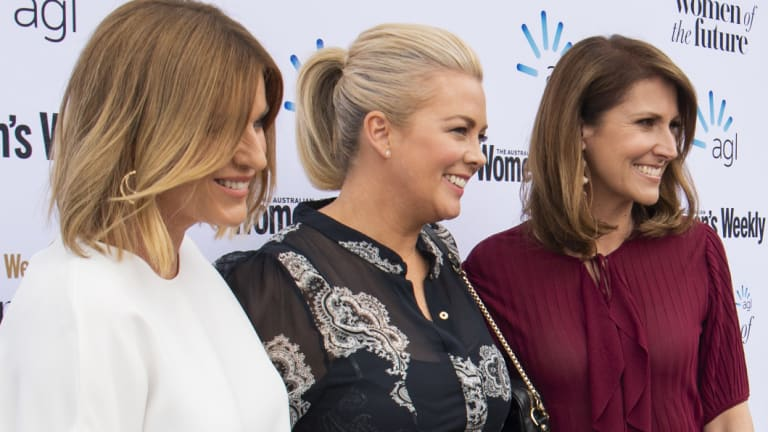 Kylie Gillies, Samantha Armytage and Natalie Barr at an awards lunch for women on Wednesday.