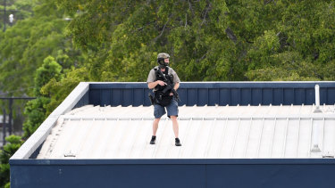 A SERT officer on the hotel roof.