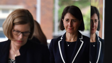 NSW Premier Gladys Berejiklian and Chief Health Officer Dr Kerry Chant arrive at Tuesday's press briefing.