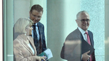 Craig Laundy and Julie Bishop accompanied Malcolm Turnbull to a fateful party meeting on August 21.