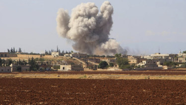 Smoke rising from a Syrian government airstrike near Idlib, Syria in 2018.