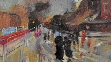 Hadyn Wilson has added a light rail inconvenience to Girolamo Nerli's A Wet Evening (1888).