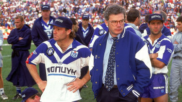 Chris Anderson and Terry Lamb come to terms with defeat in the 1994 grand final.