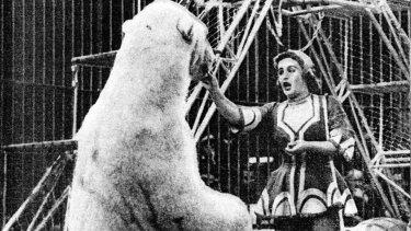 Doris Arndt with one of her polar bears.