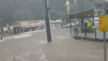 Flash flooding at Mount Tamborine on Thursday afternoon.