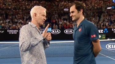 Jetlag is a bugger: McEnroe interviews Federer at the Aus Open.