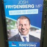 Campaign ads for Treasurer Josh Frydenberg have been defaced in Kooyong.