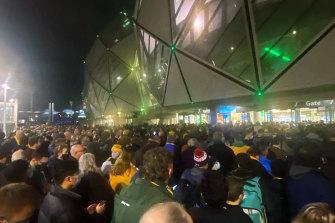 Crowds entering the Wallabies v France match at Melbourne's AAMI Park last week.