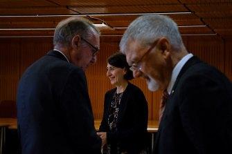 NSW Premier Gladys Berejiklian with David Gonski AC (left) and Professor Peter Shergold AC (right).