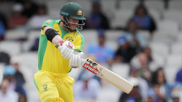 Conservative: David Warner, seen here against India, hasn't been at his swashbuckling best yet.
