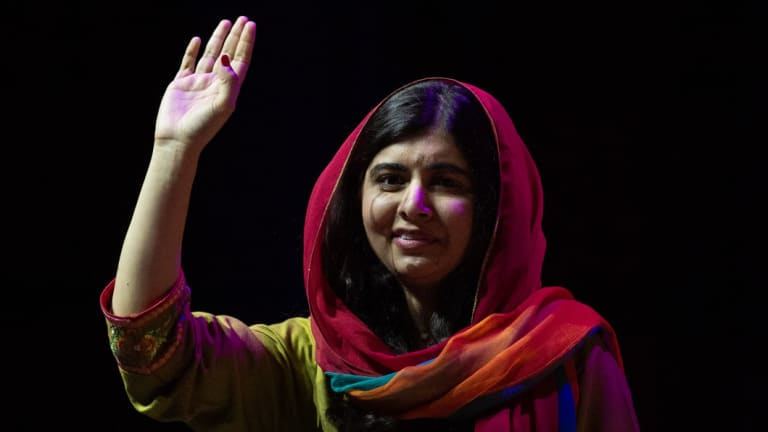 Malala Yousafzai acknowledges the ICC crowd in Sydney on Monday night.