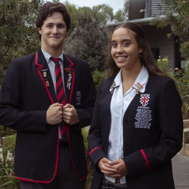 """Xavier College Llandilo year 12 students and captains Paige Manning and Huntley Jones are both First Nations Australians. """"It's nice being able to lead and let [Indigenous students] know its ok to be involved, and how much of a family we are when we're all together,"""" Paige says."""