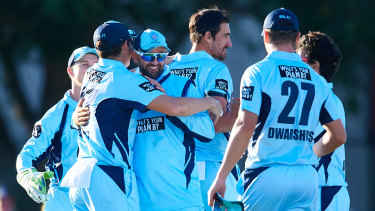 NSW players celebrate victory in the Marsh One Day Cup final against Western Australia at Bankstown Oval.