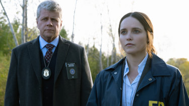 Michael Cudlitz as Paul Krendler and Rebecca Breeds as Clarice Starling in Clarice.