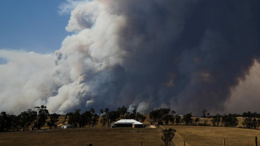 Smoke plumes from a fire in East Gippsland.