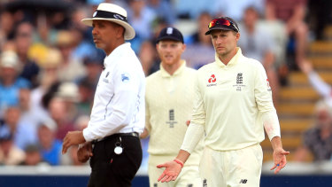 England players appeal to umpire Joel Wilson during day one.