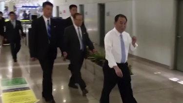 Kim Yong Chol at Beijing airport on Tuesday.