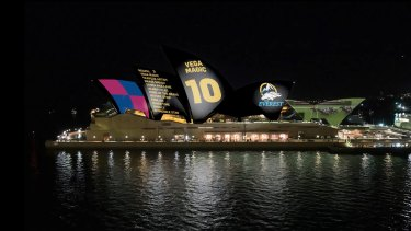 A still image from Racing NSW's original proposal for its projection on the Opera House.