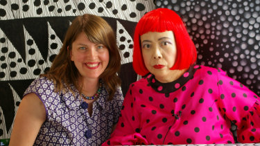 Filmmaker Heather Lenz, left, and Yayoi Kusama.