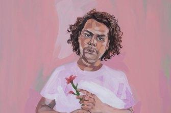 Thea Anamara Perkins' 'Christian', detail. Acrylic on clay board, 61 x 46cm. Archibald Prize 2019 finalist