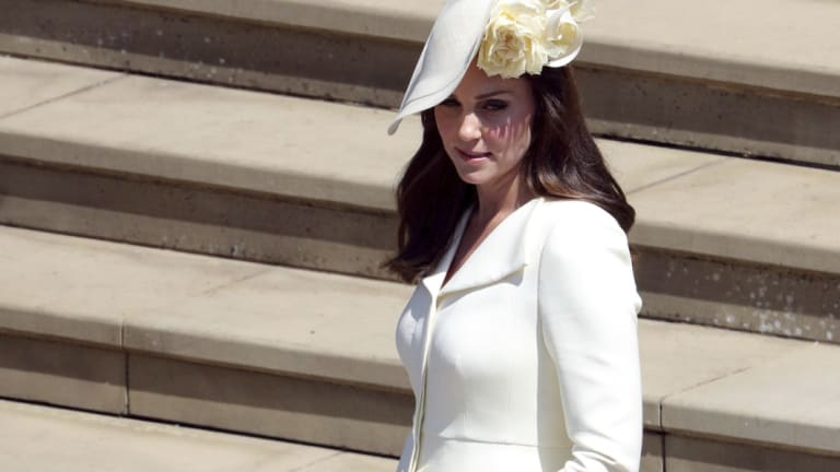 The Duchess of Cambridge arrives at the wedding of Prince Harry and Meghan Markle.