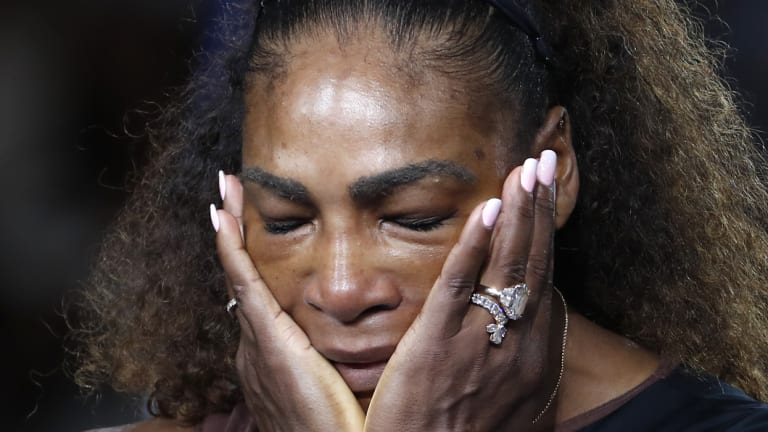 Tension: Serena Williams after losing the US Open final.