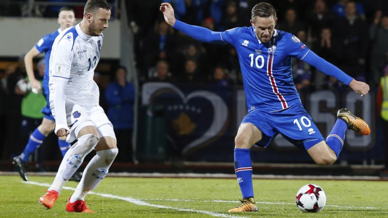 Iceland's Gylfi Sigurdsson prepares to shoot for goal.
