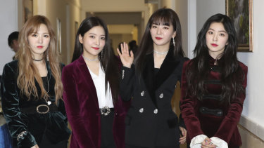 Command performance: South Korean girl band Red Velvet  after the show in Pyongyang, North Korea, on Sunday.