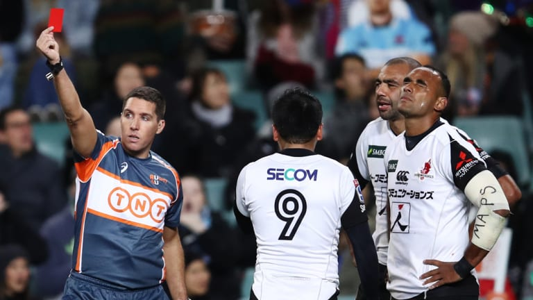 Turning point: Semisi Masirewa of the Sunwolves is sent off by referee Federico Answlmi.