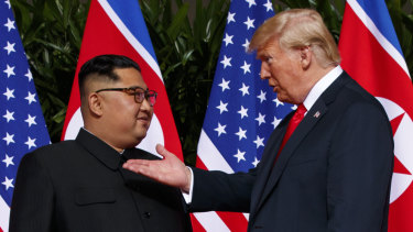 President Donald Trump meets with North Korean leader Kim Jong-un in Singapore.