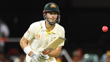 Eyes on the pink ball: Kurtis Patterson during Australia's day/night Test against Sri Lanka.