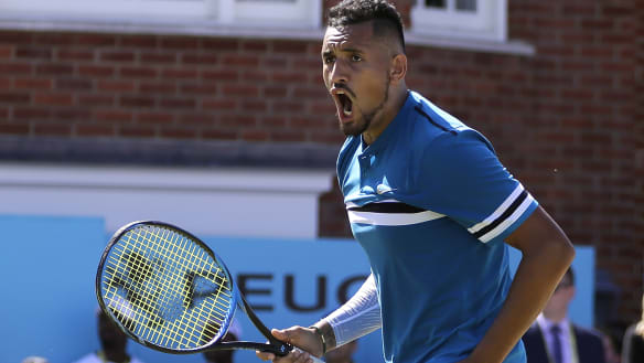 Kyrgios sends down another barrage of aces to march into Queen's semis