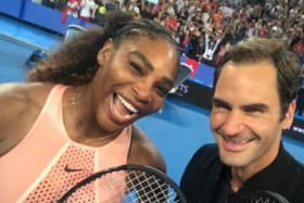 Roger Federer snaps a selfie with Serena Williams at the Hopman Cup in Perth earlier this month.