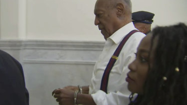 Bill Cosby, 81, is led away in handcuffs after he was sentenced to three to 10 years behind bars.